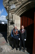 Governor of the Apprentice Boys waiting for a parade to arrive at the Memorial Hall