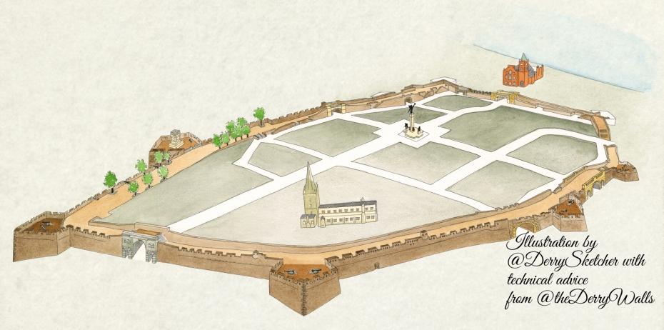 Derry Walls Sketch