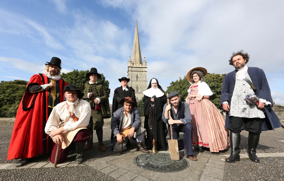 Living History Performers on Church Bastion on Derry Walls Day 2016